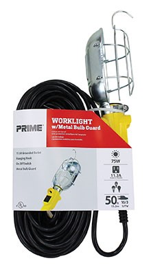 Portable Electric Work Light with Metal Bulb Guard, 50 ft cord