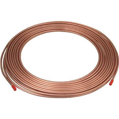 Mueller D05050 Refrigeration Tube, 5/16 in OD x 50 ft L x 0.032 in THK Wall, Copper