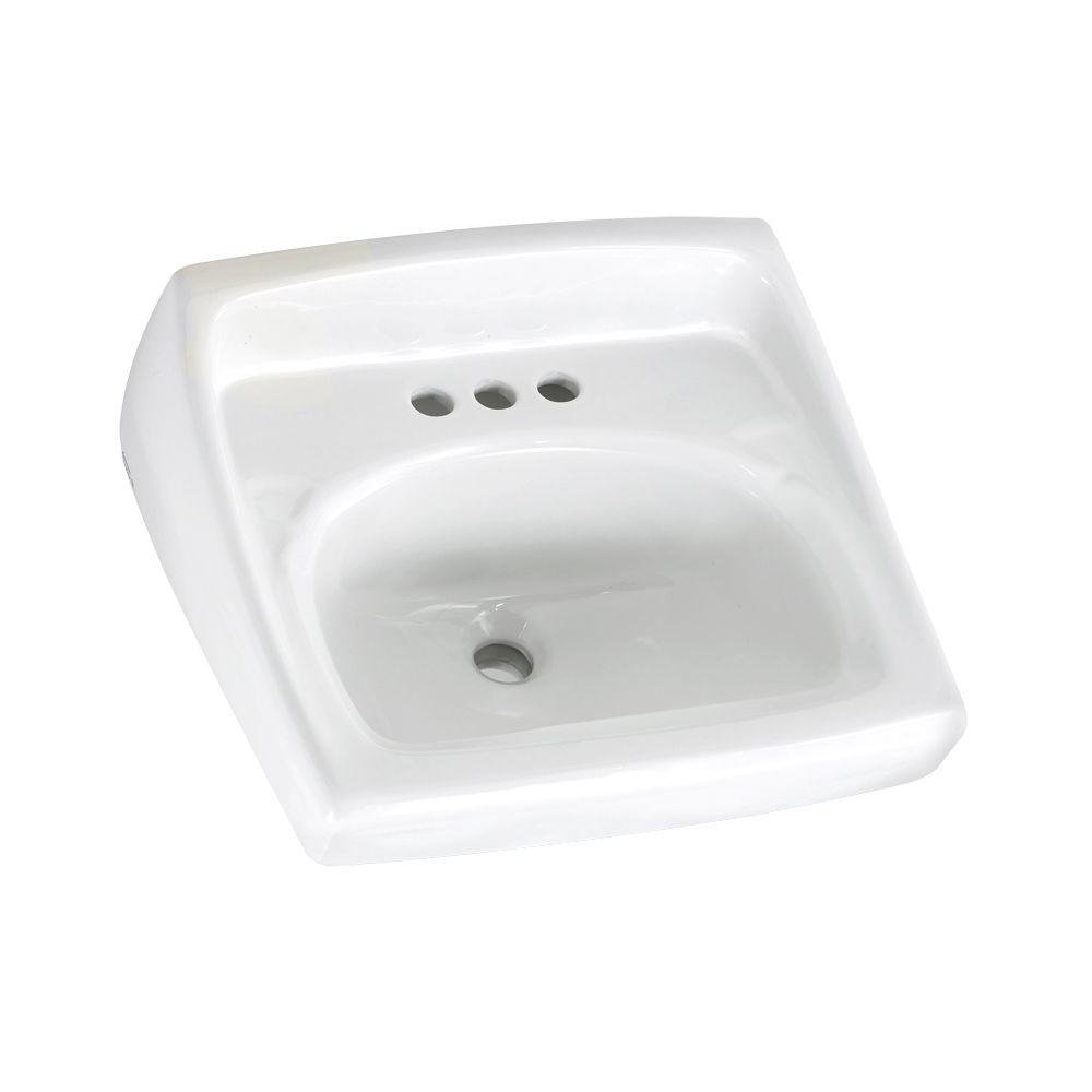 American Standard 0355.012.020 Lucerne Bathroom Sink With Front Overflow, D-Shape, 4 in Faucet Hole Spacing, 20-1/2 in W x 18-1/4 in D