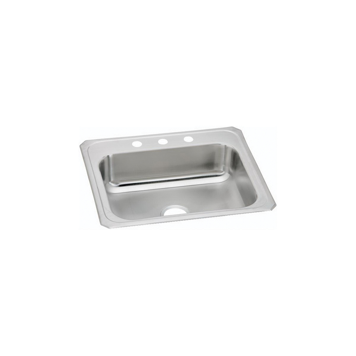 Elkay CR25224 Celebrity Kitchen Sink, Rectangular, 4 Faucet Holes, 25 in W x 22 in D x 7 in H, Top Mount, Stainless Steel, Brushed Satin