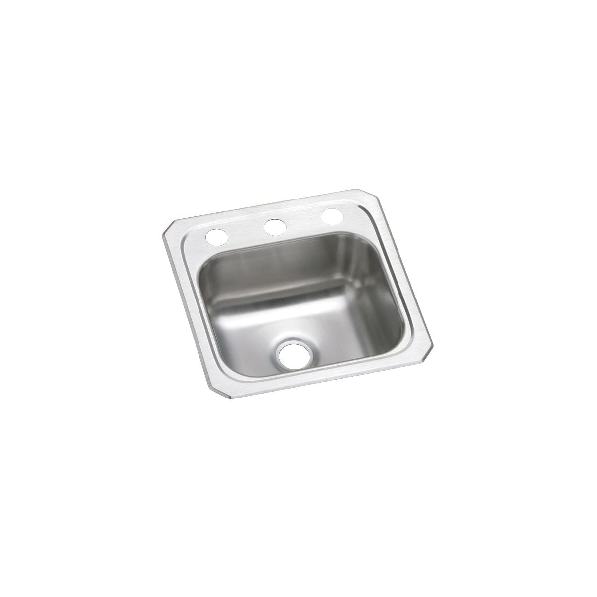Elkay BCR152 Celebrity Bar Sink, Square, 2 Faucet Holes, 15 in W x 6-1/8 in D x 15 in H, Top Mount, Stainless Steel, Brushed Satin