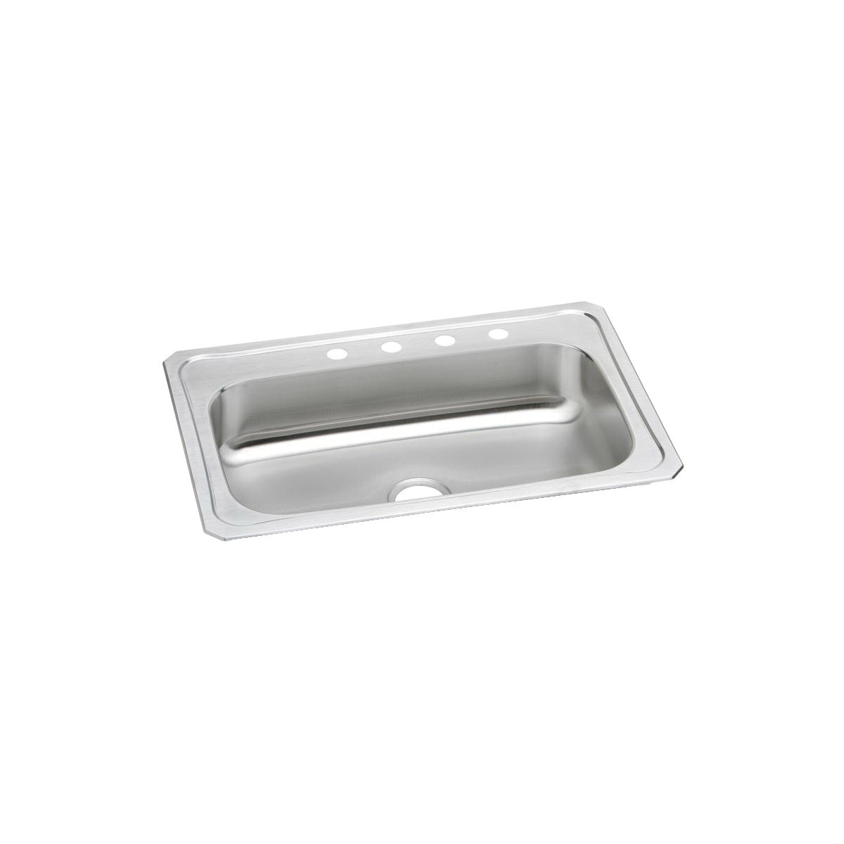 Elkay CRS33224 Celebrity Kitchen Sink, Rectangular, 4 Faucet Holes, 33 in W x 22 in D x 7 in H, Top Mount, Stainless Steel, Brushed Satin