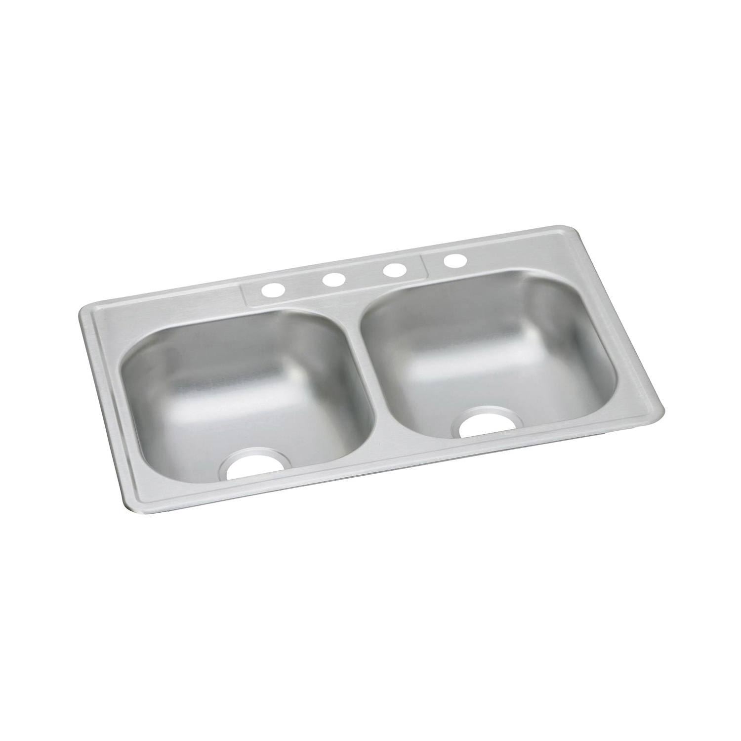 Elkay D233223 Dayton Kitchen Sink, Rectangular, 3 Faucet Holes, 33 in W x 22 in D x 6-9/16 in H, Top Mount, Stainless Steel, Satin