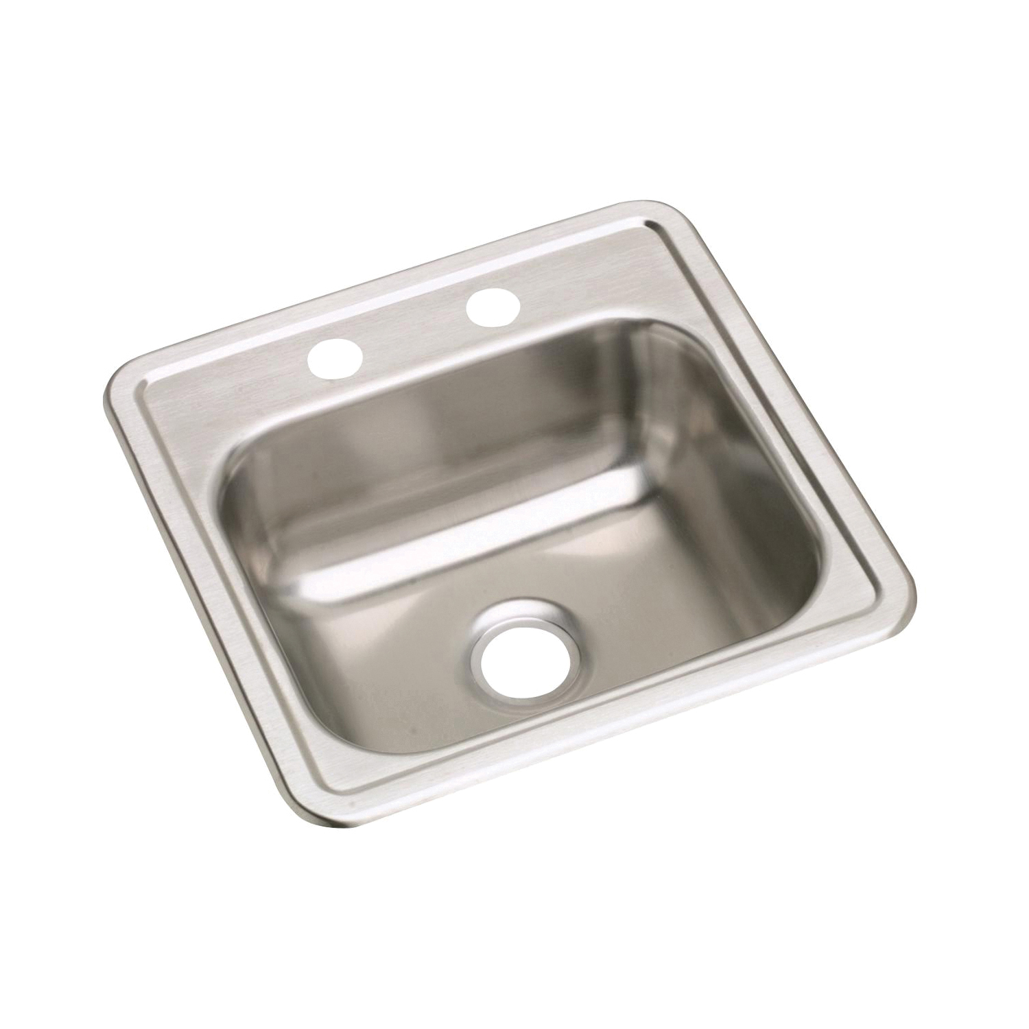Elkay D115162 Dayton Bar Sink, Square, 2 Faucet Holes, 15 in W x 15 in D x 5-3/16 in H, Top Mount, Stainless Steel, Satin