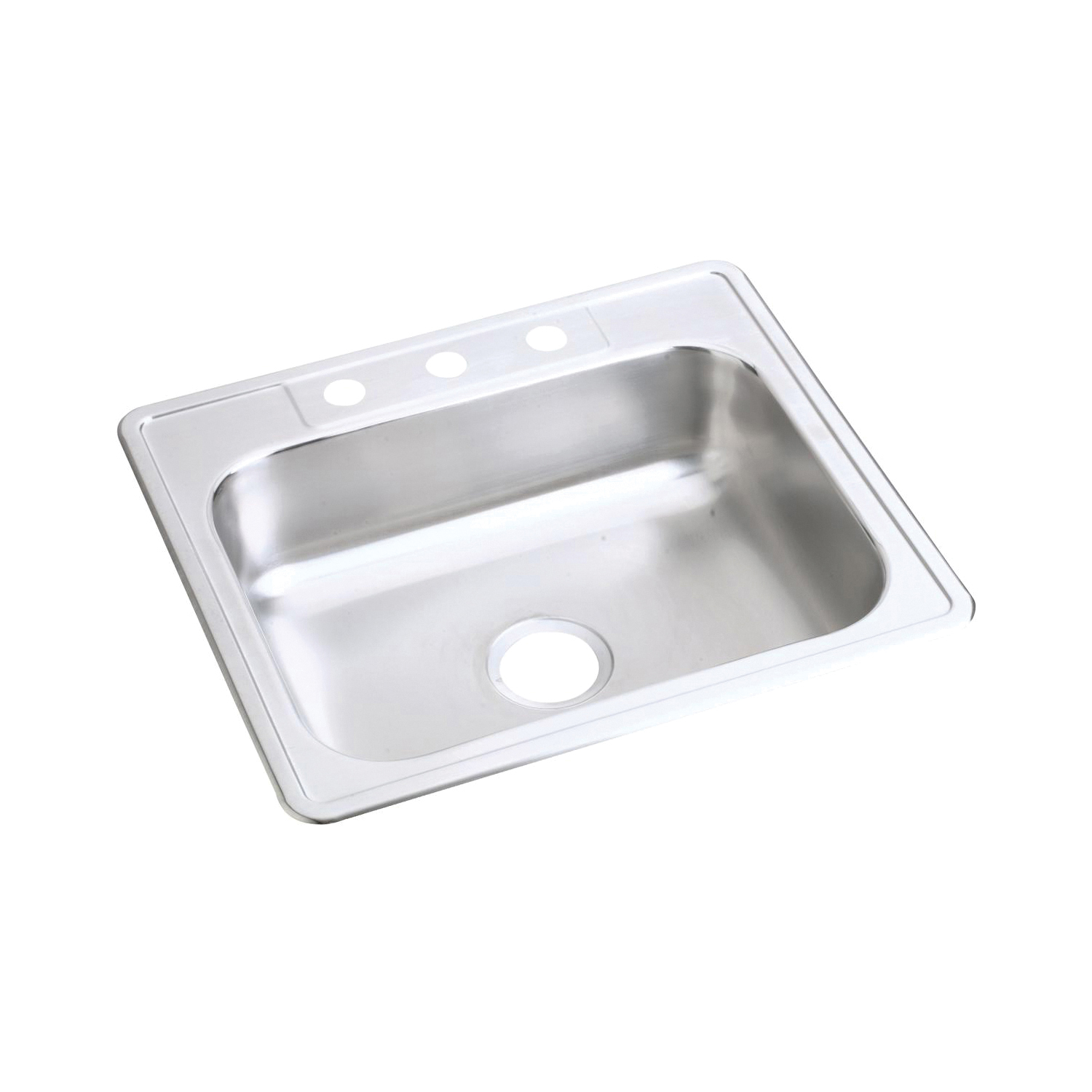 Elkay D125224 Dayton Kitchen Sink, Rectangular, 4 Faucet Holes, 25 in W x 22 in D x 6-9/16 in H, Top Mount, Stainless Steel, Satin