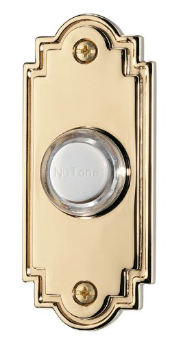 BROAN PB15LPB Lighted Flat Pushbutton Door Chime, 1-1/4 in W x 3 in H Polished Brass