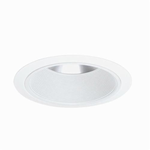Juno 244W-WH Shallow Baffle Trim With White Trim Ring, 7-5/8 in OD, Incandescent Lamp