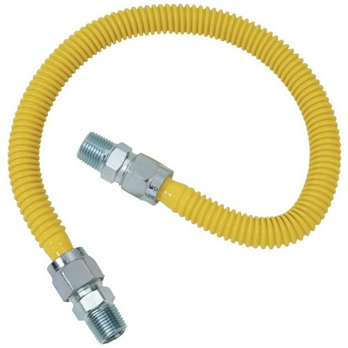 B&K PRO FlexConnect ProLine G012YE101036 Gas Appliance Connector, 1/2 in ID, 1/2 in M x 1/2 in M, 36 in L