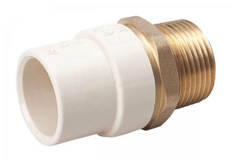 B&K 164-303NL Transition Adapter, 1/2 in, MNPT, CPVC/Brass