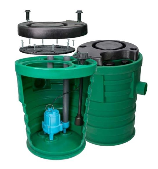 Little Giant 509667 9SF3V2D Pit Plus Sr. 4/10 hp Premium Simplex Sewage System w/Tether Float Switch
