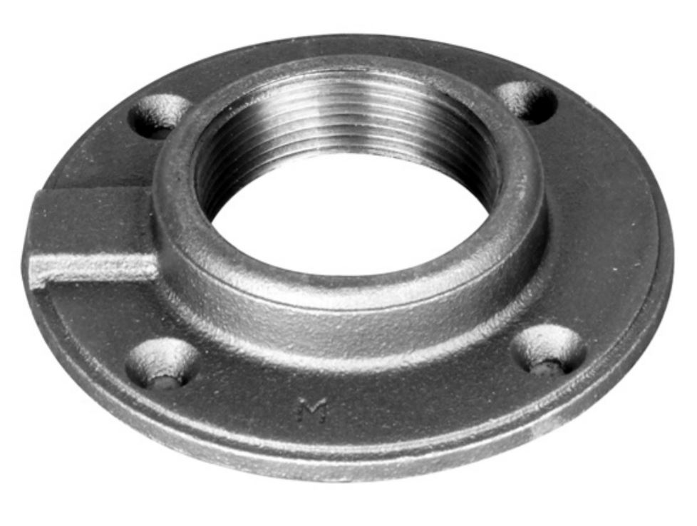 Ward 1.BMFF Floor Flange, 1 in, FNPT, Malleable Iron, 150 lb, 3-7/8 in OD
