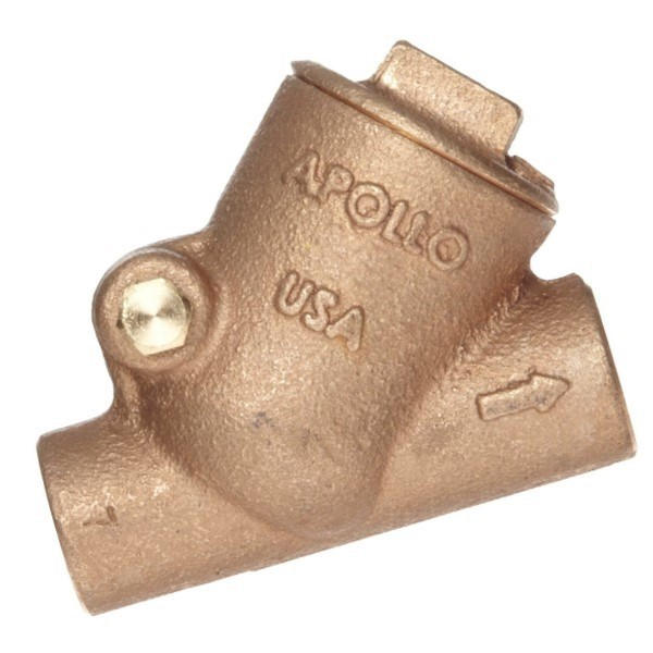 Apollo 61YLF09301 161S-LF Y-Pattern Swing Check Valve, 1/2 in, Solder, 125 lb, 7 gpm, Bronze Body