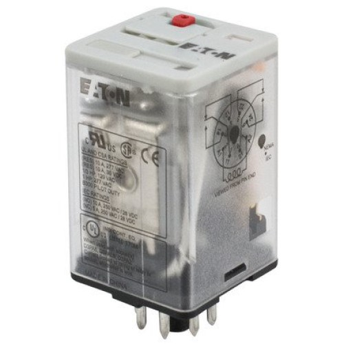 EATON D3RF2T1 Full Featured Ice Cube Relay, 10 A, 8 Pins, DPDT Contact Form, 24 VDC Coil