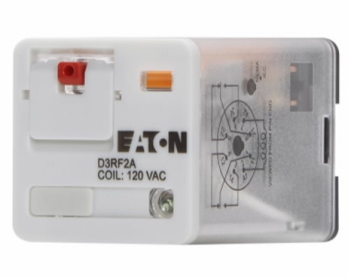 EATON D3RF2A Ice Cube Full Featured General Purpose Relay, 10 A, 8 Pins, DPDT Contact Form, 120 VAC Coil