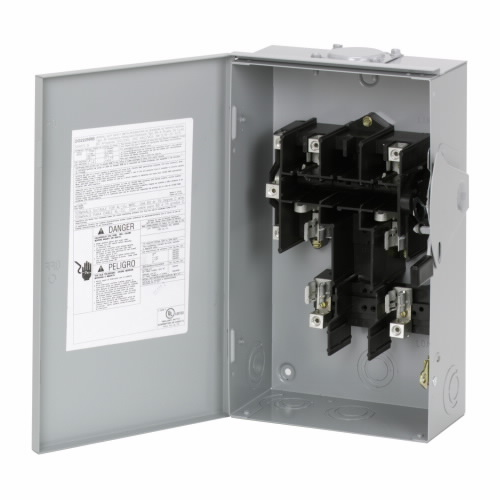 DG222URB General Duty Non-Fusible Safety Switch, 240 V, 10 hp at 240 VAC 1 Phase, 60 A, 2 Poles