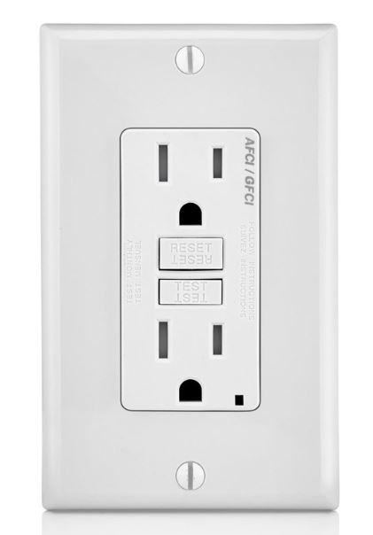 Leviton Decora AGTR1-W Dual Function Monochromatic Tamper Resistant AFCI/GFCI Receptacle With LED Indicator, 125 VAC, 15 A, 2 Poles, 3 Wires, White