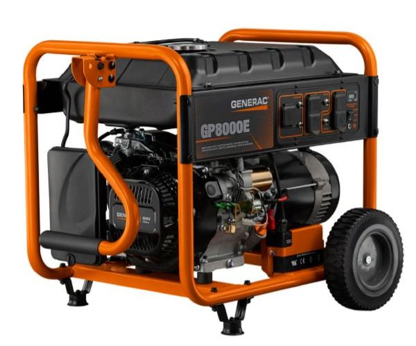 GENERAC GP8000E Portable Generator, 66.6 A, 120/240 VAC, 10000 W Starting/8000 W Running, OHV, 3600 rpm