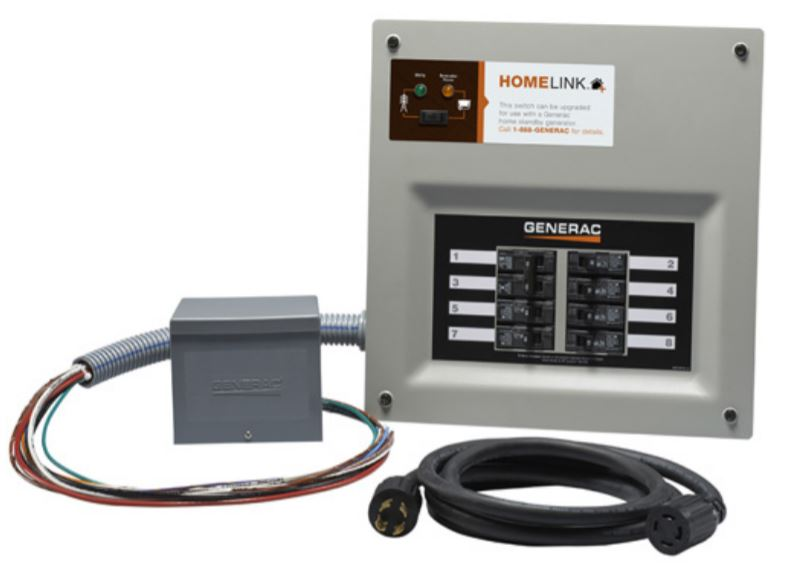 Generac 6853 HomeLink Upgradeable Manual Transfer Switch for Portable Generators, 30A
