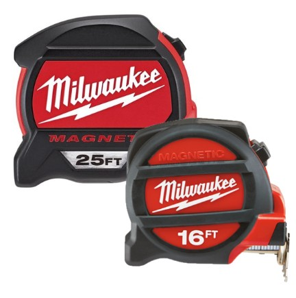 Milwaukee 48-22-5125H 25' & 16' Magnetic Tape Measure Home Measuring Tapes & Rulers ruler