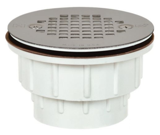 Tomahawk 825-2PPK Receptor-Base Style Shower Module Drain With Screw-On Strainer, 2 in, Hub, PVC Drain