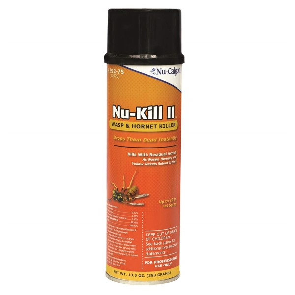 Nu-Calgon Nu-Kill II 4292-75 Wasp and Hornet Killer, 13.5 oz Aerosol Can, Aerosol, Clear, Petroleum Distillates