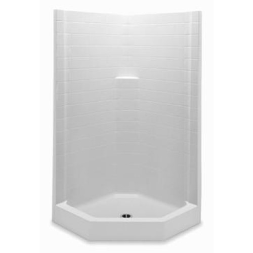 Aquatic 1382NACT-WH Everyday 1-Piece Neo-Angle Shower stall, 38 in L x 38 in W x 76 in D