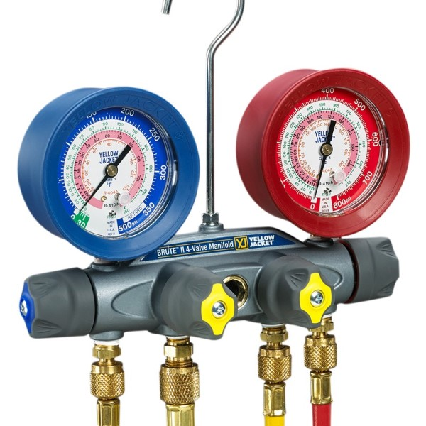 Yellow Jacket 46001 4-Valve Test and Charging Manifold Only, 3/8 in Vacuum Port, 1/4 in Hi/Lo Charge, 1% (Class 1) Accuracy