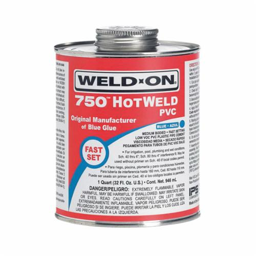 Weld-On 750 HOTWELD 13752 Low VOC Medium Bodied Fast Setting High Strength Solvent Cement With Applicator Cap, 1 pt Metal Can