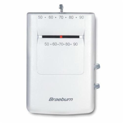 Braeburn 500 Builder 1-Stage Thermostat, Mechanical, Non-Programmable, 50 to 90 deg F Control Range
