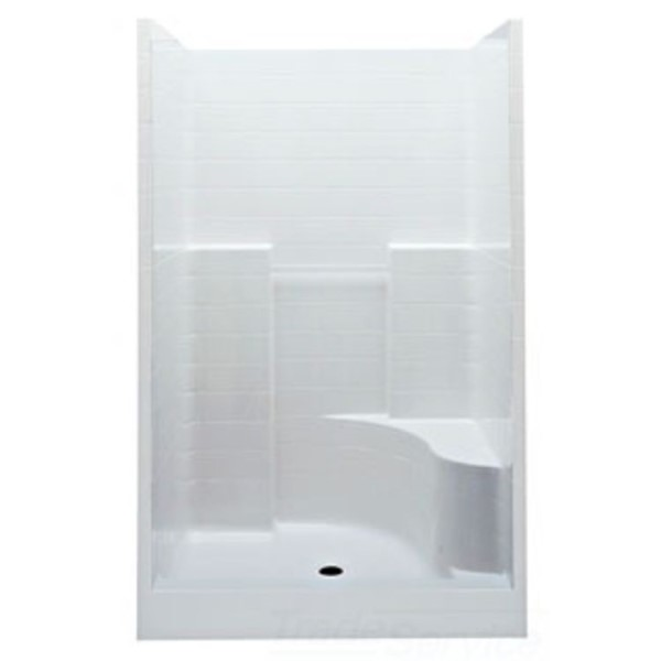 Aquatic 1483STTR-WH Everyday 1-Piece Shower Stall With Molded Right Seat, 48 in L x 34-7/8 in W x 76 in H, Gel-Coated/White