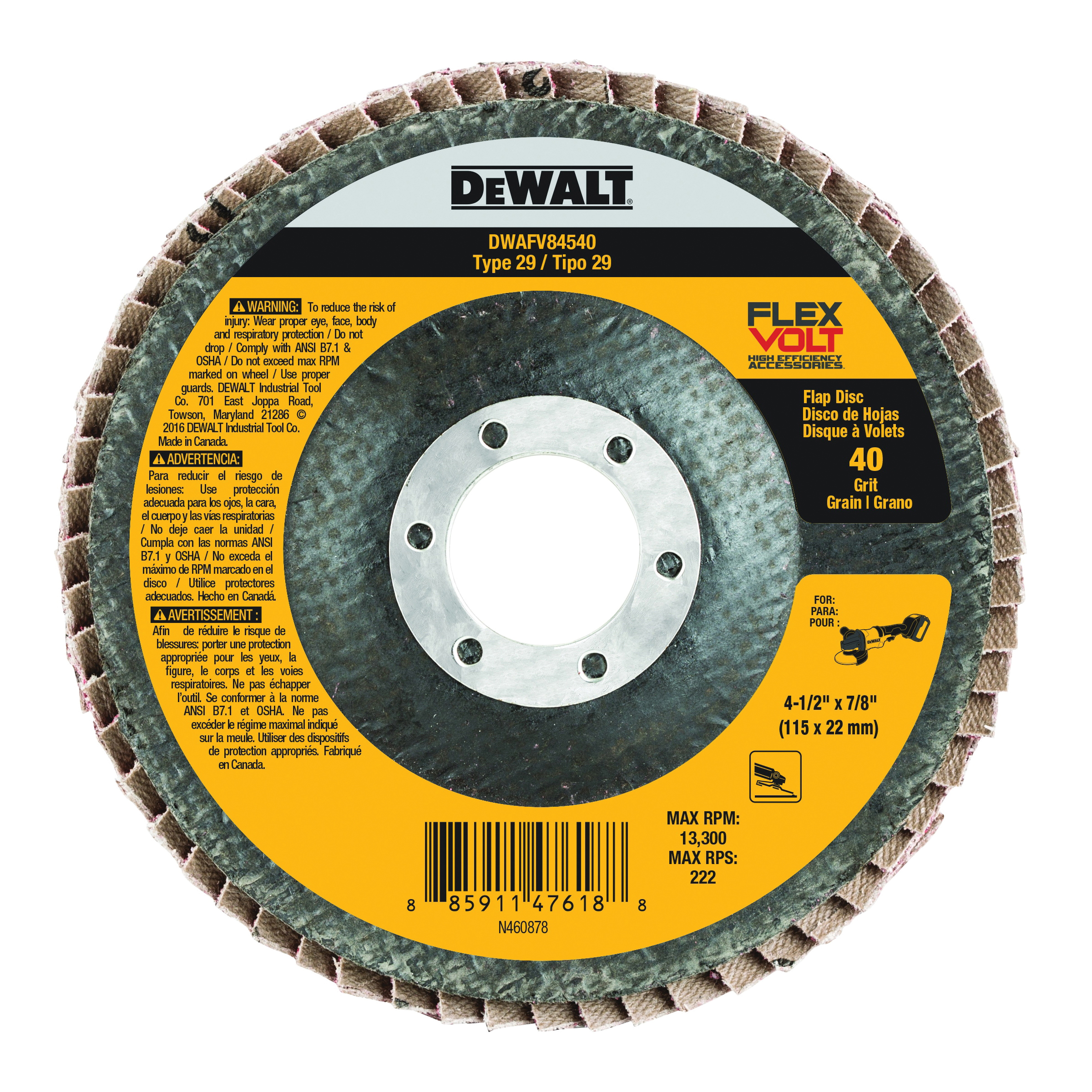 DeWalt DWAFV84540 Flexvolt Coated Flap Disc, 4-1/2 in Dia, 7/8 in, 40/Coarse, Ceramic Abrasive, Type 29