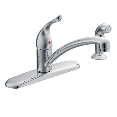 Moen 67430 Chateau Kitchen Faucet, 1.5 gpm, 7-7/8 in Center, 1 Handle, Chrome Plated