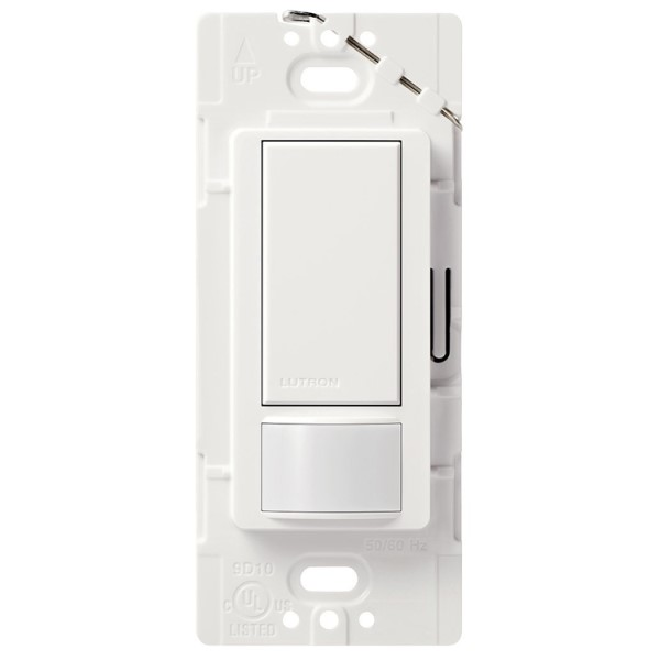 Maestro MS-OPS2-WH Occupancy Sensor, 120/277 VAC, PIR Sensor, 30 x 30 ft Coverage, 180 deg, Wall Box Mount