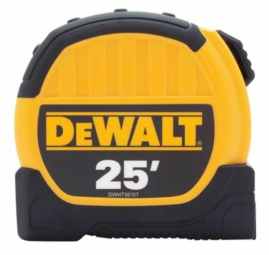 DeWalt DWHT36107 Short Measuring Tape, 25 ft L x 1-1/8 in W Blade, Imperial