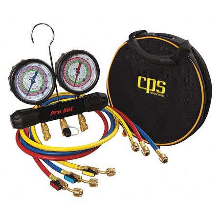 "CPS MT2H7P5E Mechanical Manifold and Gauge Set, 2 Valves, 1/4 in Port, 3"" Hg to 500 psi"