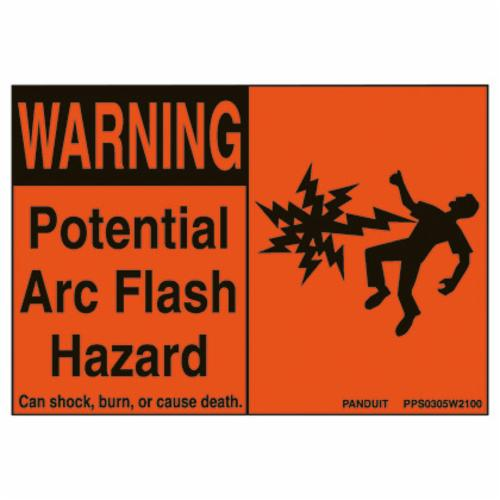 Panduit PPS0305W2100 Basic Pre-Printed Arc Flash Label, 3-1/2 in L x 5 in W, Black/Orange, Polyester Adhesive