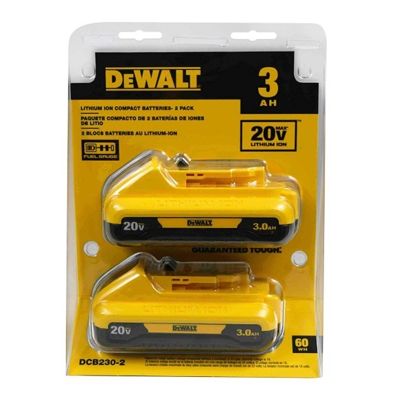 DeWALT DCB230-2 20V MAX Lithium Ion Battery Pack, 3.0Ah, 2/pk
