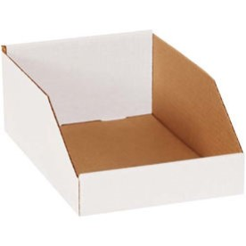 Pollock 142122 BSBNMT12124 B-Flute Corrugated Shelf Storage Bin Box, 12 in x 12 in x 4-1/2 in, Oyster White, 200#