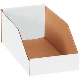 Pollock 142035 BSBINMT612 B-Flute Corrugated Shelf Storage Bin Box, 12 in x 6 in x 4-1/2 in, Oyster White, 200#