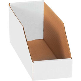 Pollock 141995 BSBINMT412 Corrugated Shelf Storage Bin Box, 12 in x 4 in x 4-1/2 in, Oyster White, 32 ECT
