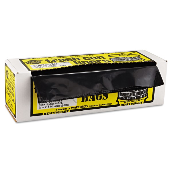 Warp Brothers FLEX-O-BAG HB33-60 Contractor Extra Heavy Duty Trash Can Liner Bags 33 gal, Plastic, 60/Roll