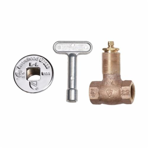 Arrowhead Brass 258 Heavy Duty Straight Gas Log Lighter Valve With Chrome Flange and Key, 1/2 in, FNPT, Red Brass Body