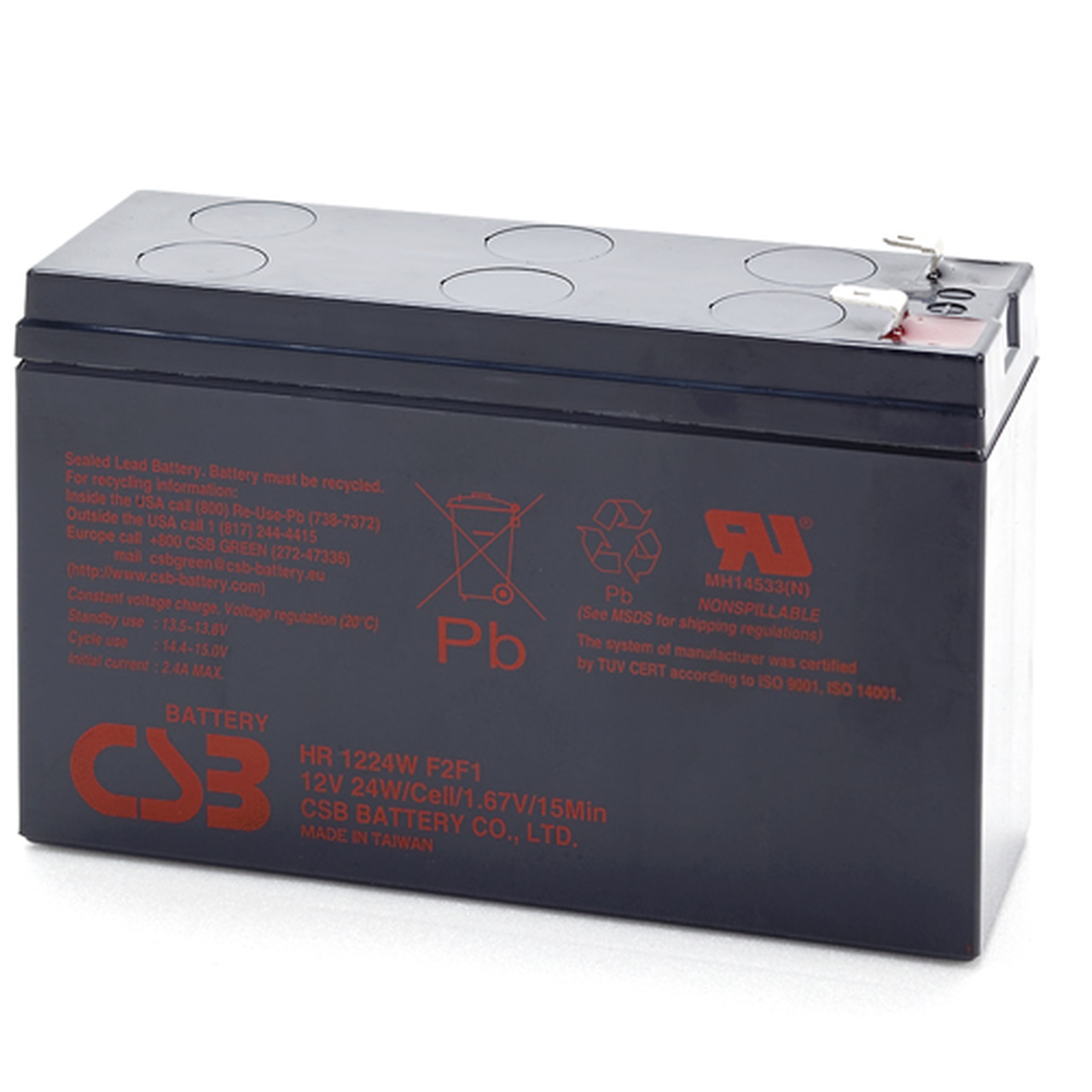Battery Outfitters HR1224W 12V 24 Watt High Rate AGM Battery