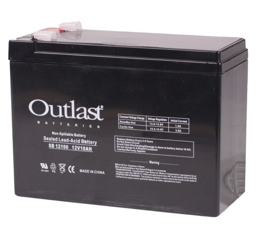 Battery Outfitters UB12100-S Outlast Sealed Lead-Acid 12V 10 AH Battery