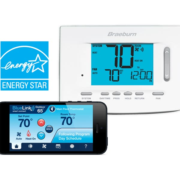 BlueLink 7300  Smart WiFi Universal Thermostat, 2 Heat / 1 Cool Heat Pump, 1 Heat / 1 Cool Conventional