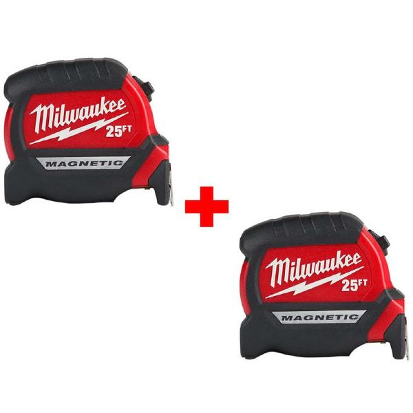 Milwaukee 48-22-0125G 25 ft Premium Magnetic Tape Measure 2/pack