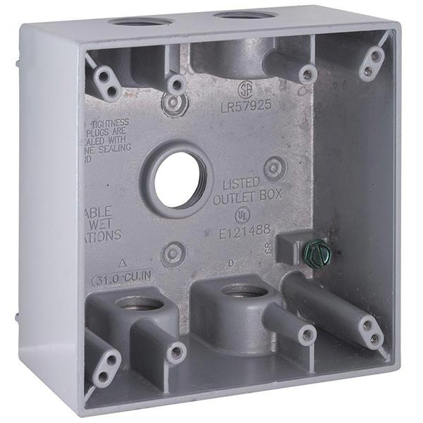 White TayMac DB375WH 3//4-Inch 3 Hole 2-Gang Weatherproof Box 3//4-Inch Outlets