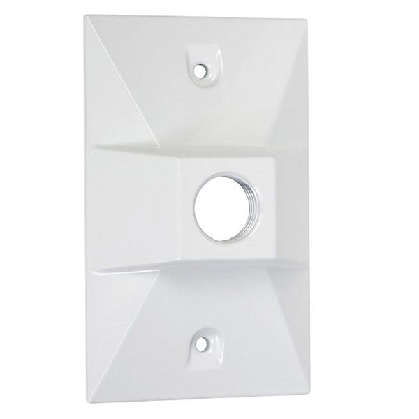 TayMac LV110WH One-Hole Rectangular Metal Lampholder Cover White