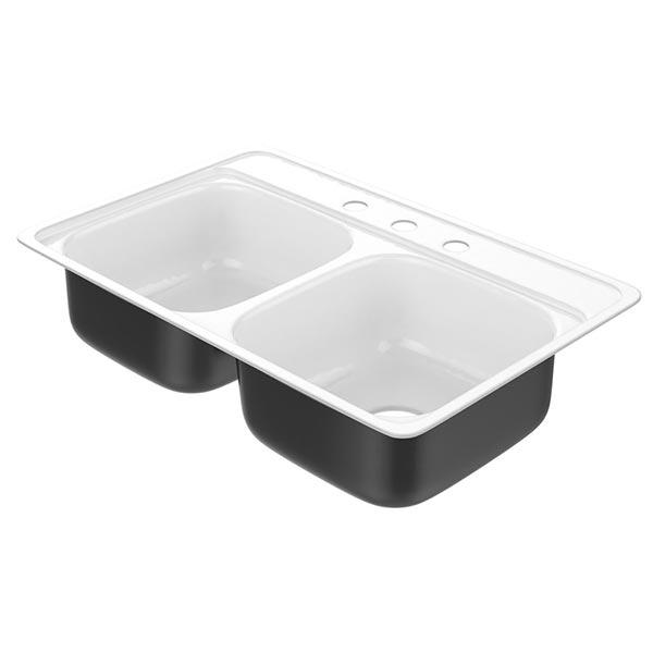 Products Garnet 031 2781 00 Double Bowl Dual Purpose Kitchen Sink 32 In L X 21 In W X 6 7 8 In D Undermount Or Flat Rim Porcelain Enamel White